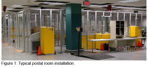 Typical postal room installation in bank postal processing center